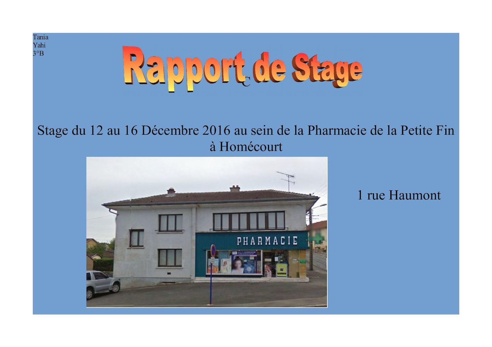Rapport De Stage 3eme Pharmacie Exemple - Le Meilleur Exemple