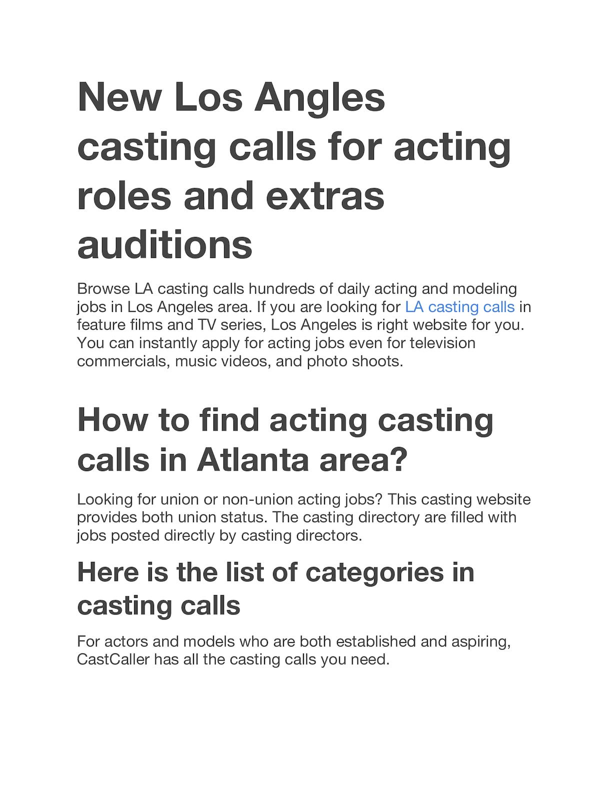 Casting calls in los angeles