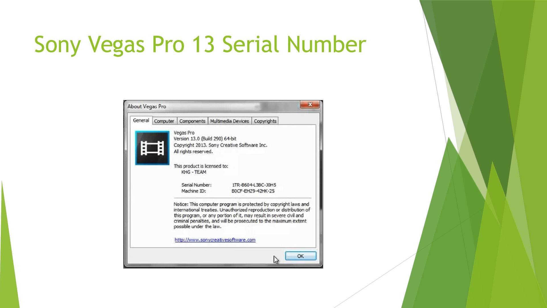 Sony Vegas Pro 16.0.261 registration code
