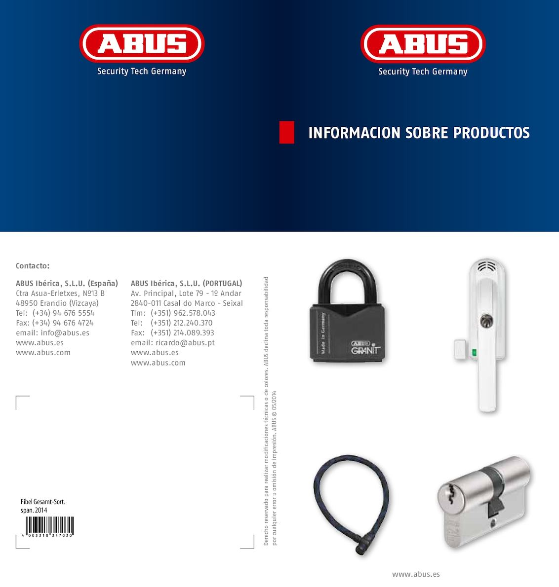Abus PR 2600 W Barra transversal con cilindro de seguridad 30//70 blanca