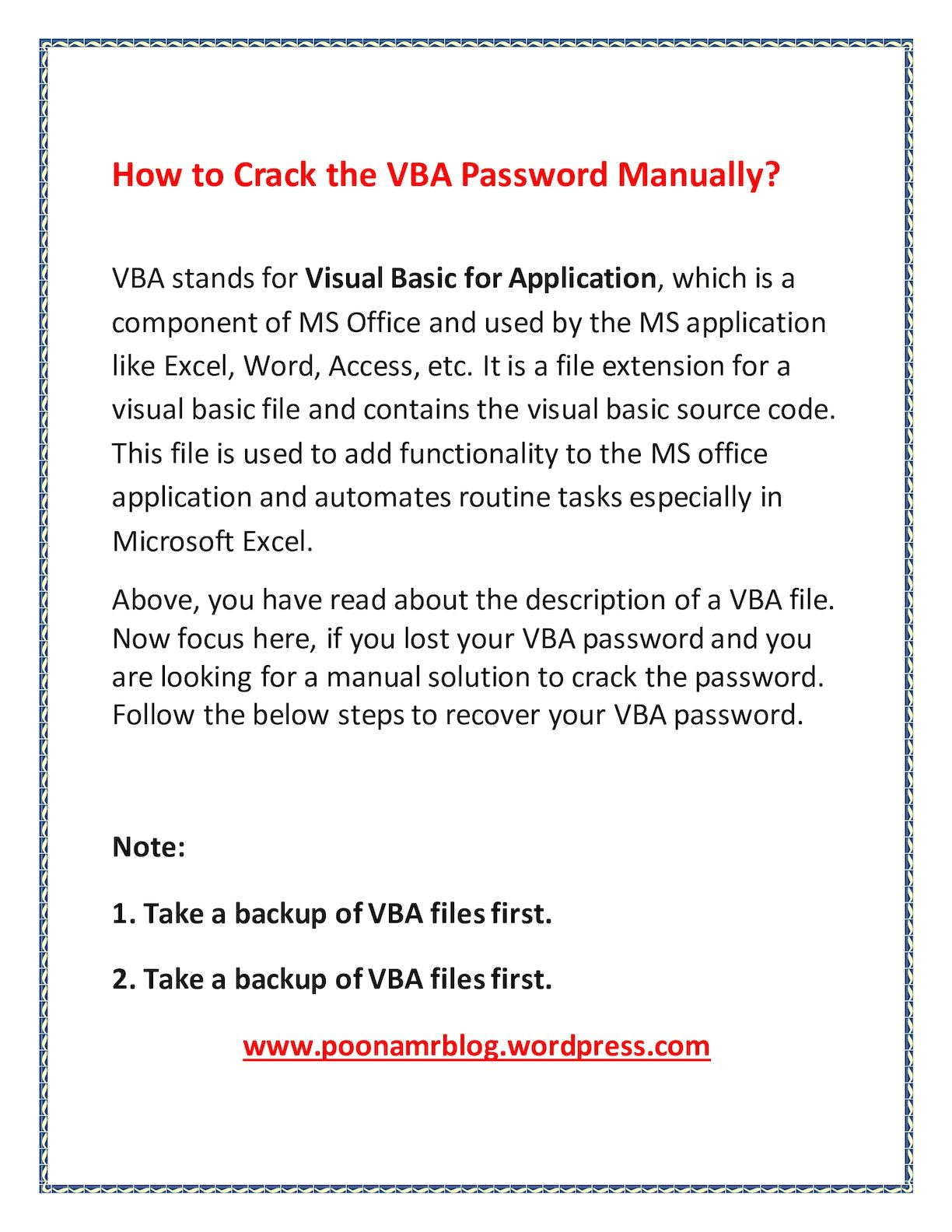 Vba Password Recovery - CALAMEO Downloader
