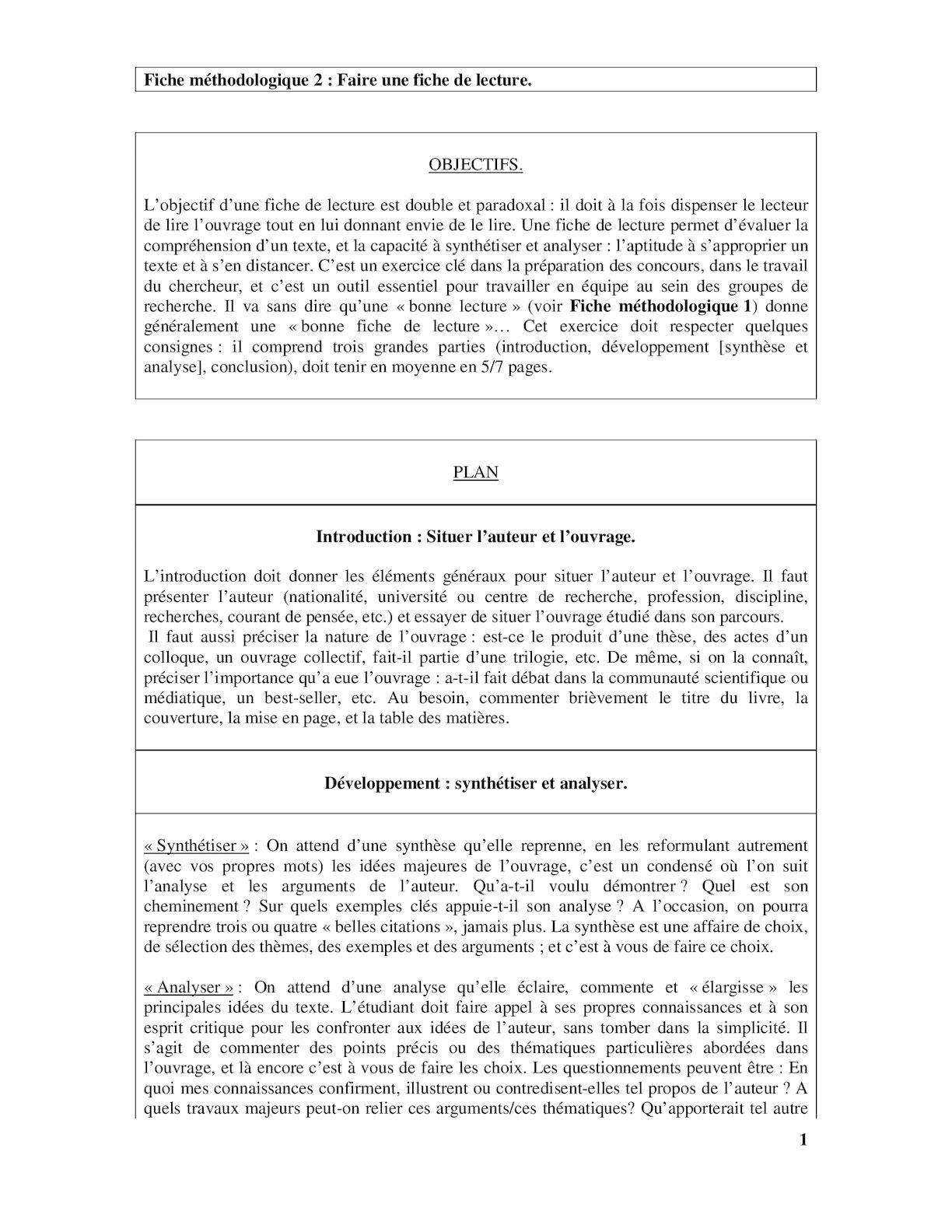 Calaméo - Fiche Methodologique 2 Fiche De Lecture