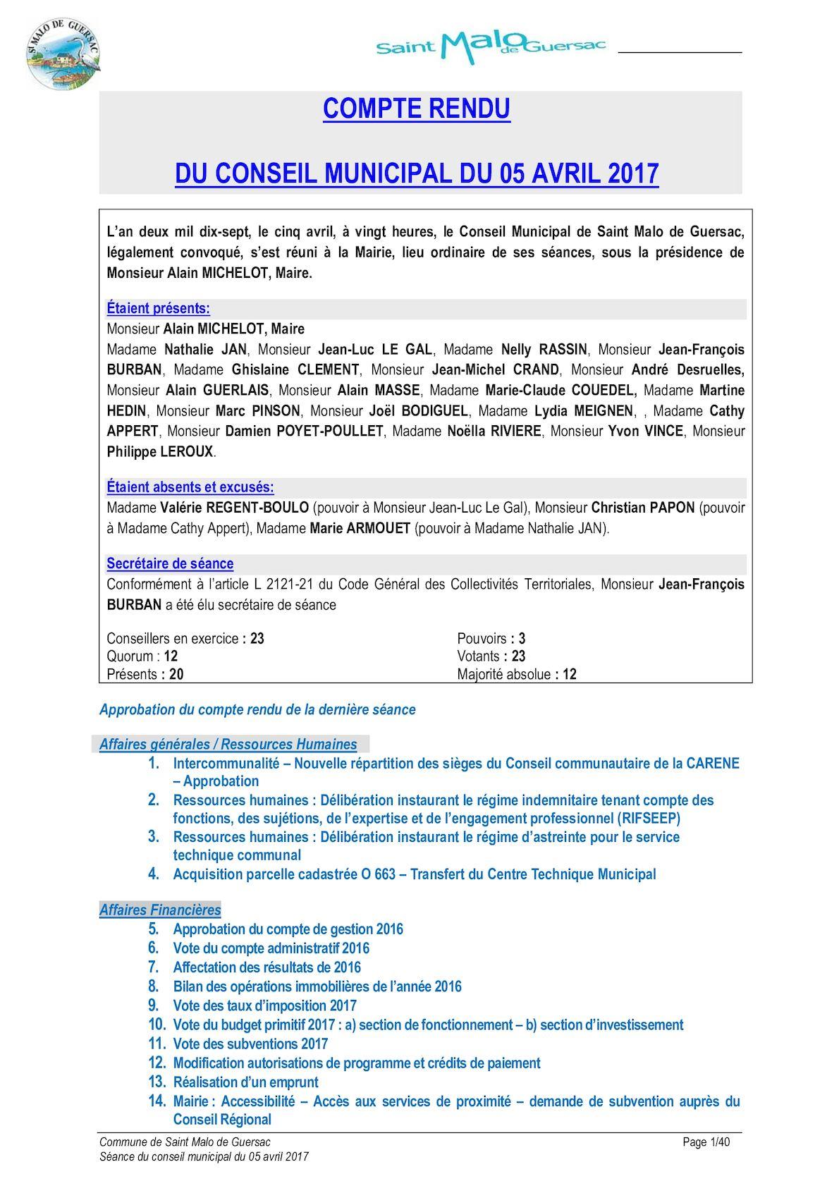 Calameo Conseil Municipal Du 5 Avril 2017