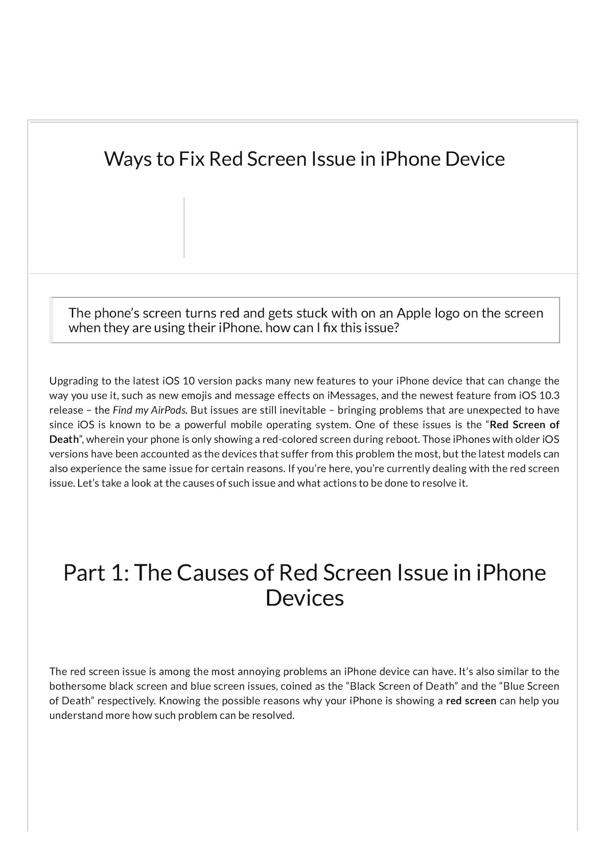 Calaméo - FoneDog How To Fix iPhone Red Screen Issue