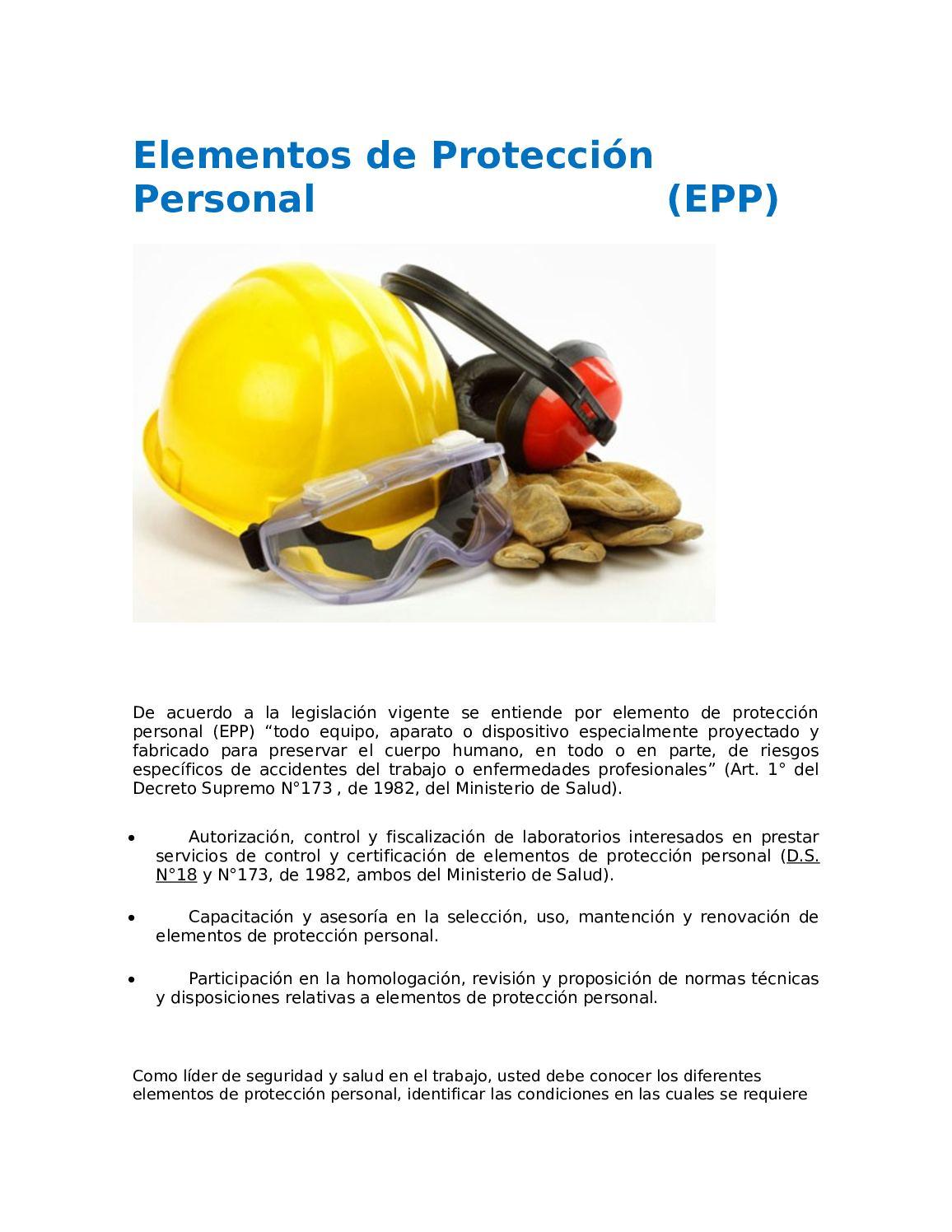 cuales son los elementos de proteccion personal en salud