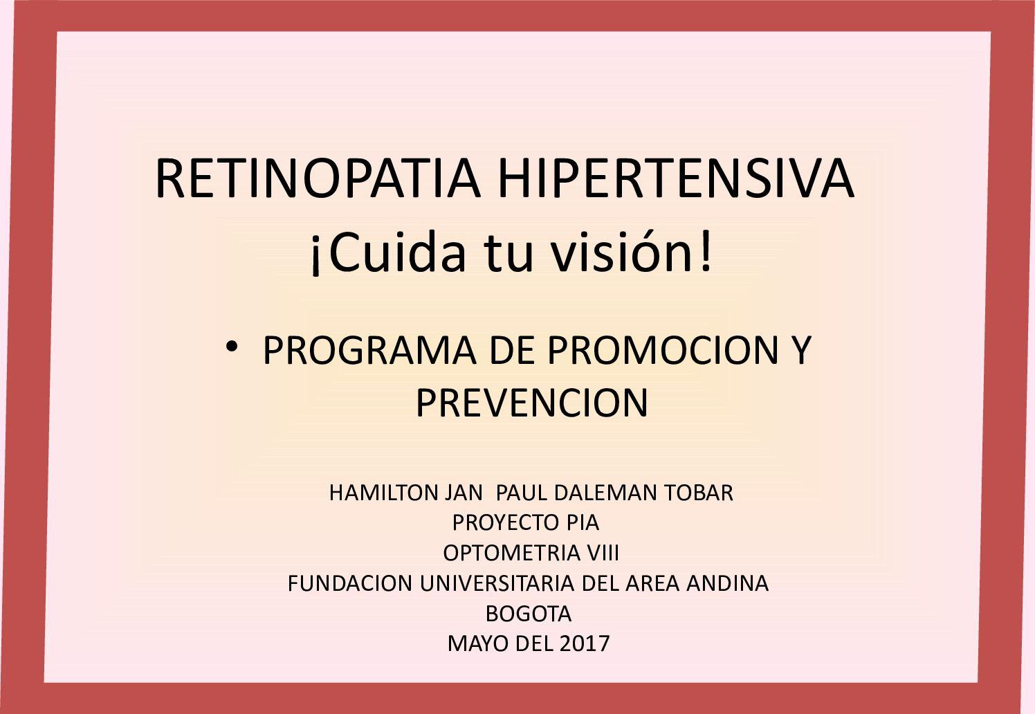 Patogenia de la retinopatía hipertensiva
