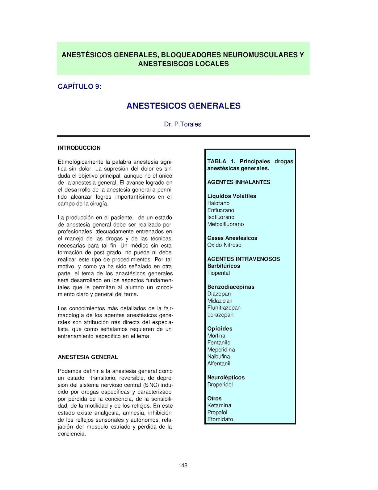 Tipos de anestesia general inhalada