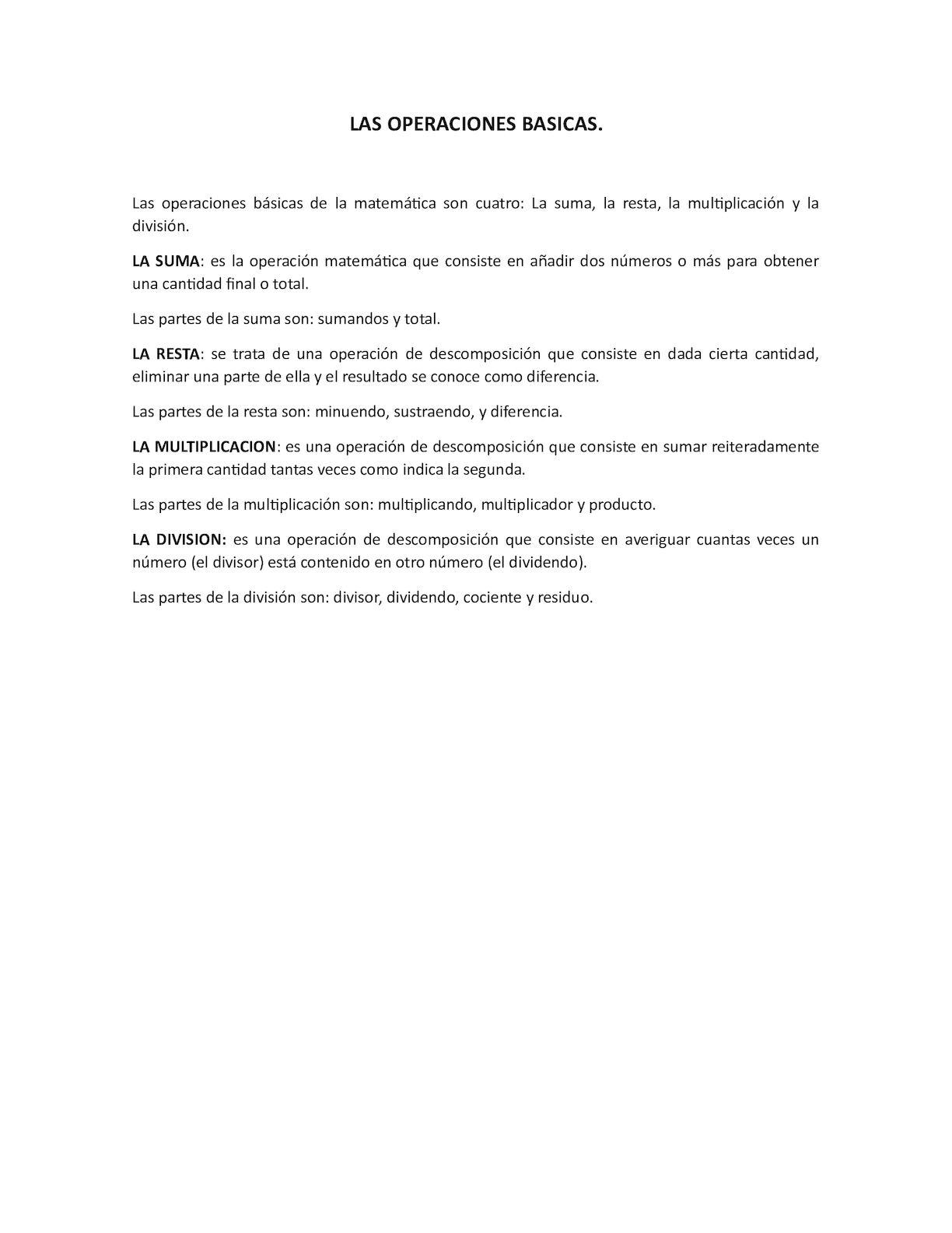 Calaméo Las Operaciones Basicas Matematicas