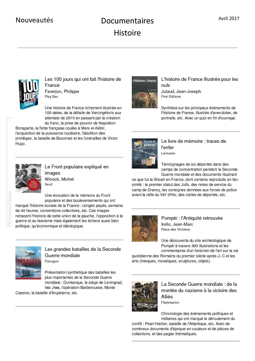 Calameo Nouveautes Avril Documentaires