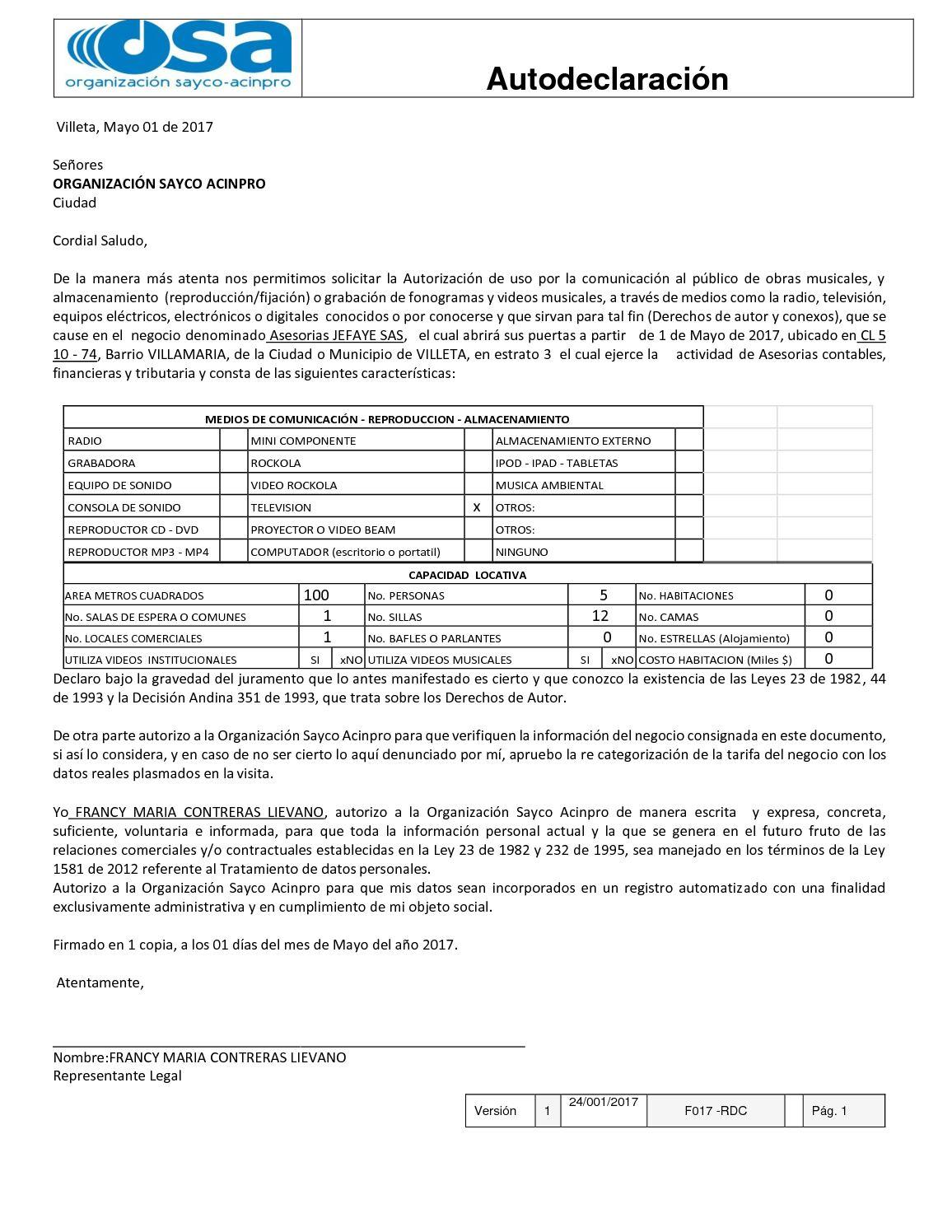 sayco y acinpro formulario