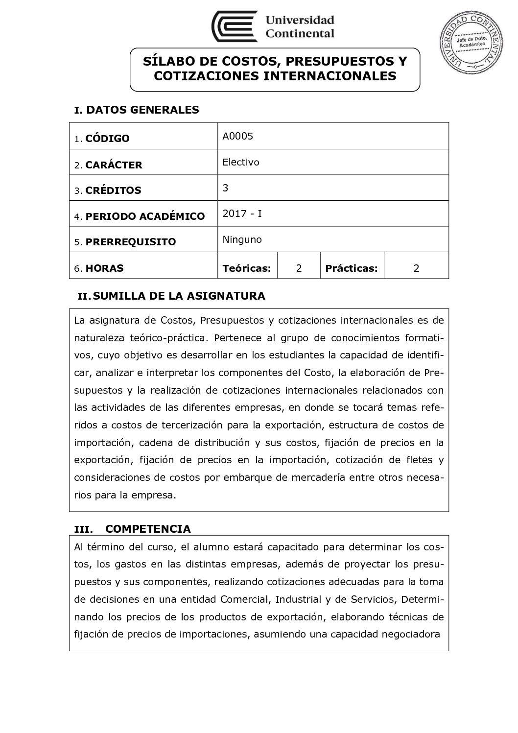 Calaméo - A0005 Silabo Costos Presupuestos Y Cotizaciones Internacionales
