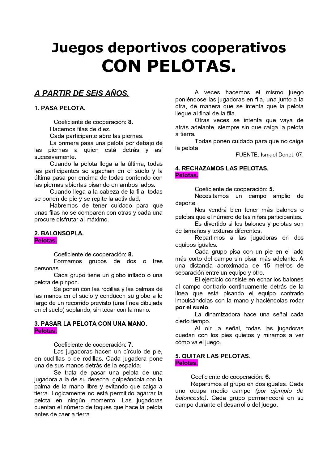 Calameo 04 Juegos Deportivos Cooperativos Con Pelotas