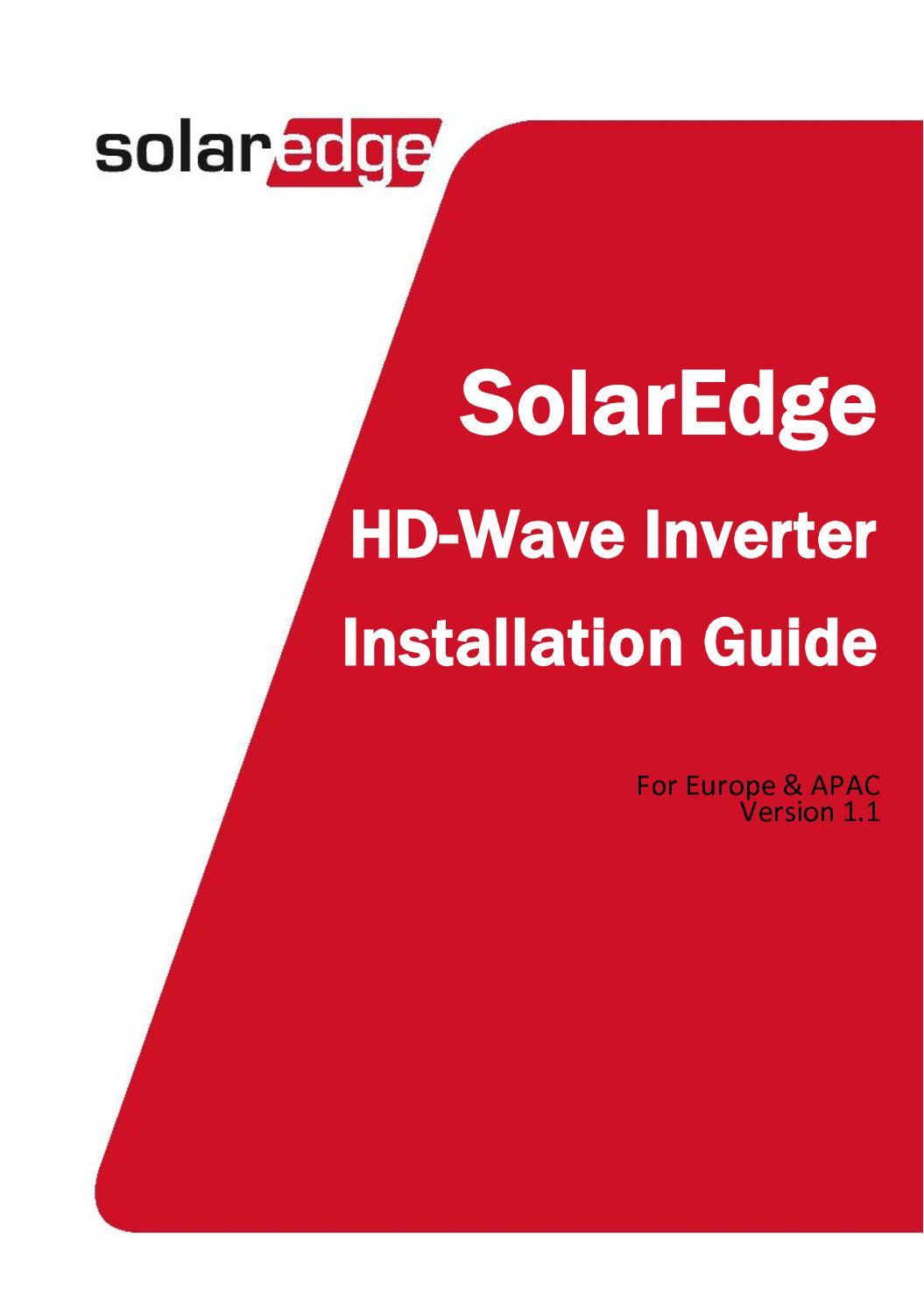 Calaméo - Installation SolarEdge HD Wave inverter