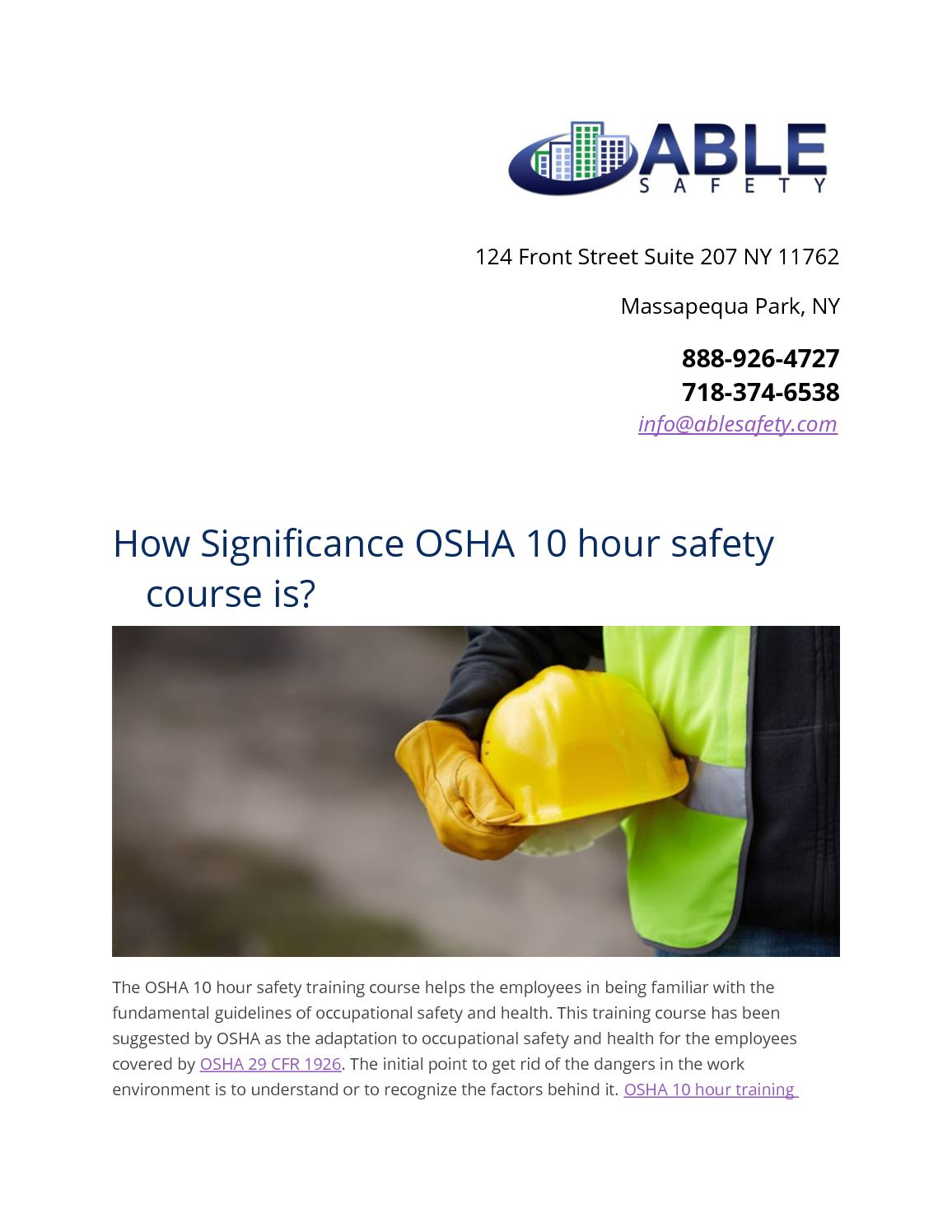 Calaméo - How Significance Osha 10 Hour Safety Course Is