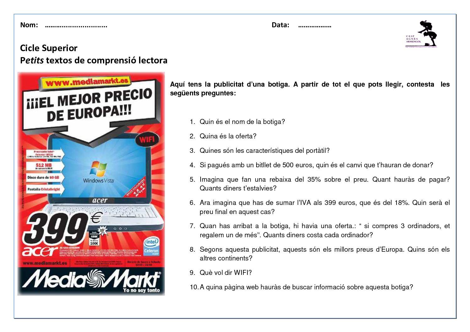 Cs Petits Textos De Comprensió Lectora Ceip Agnès Armengol