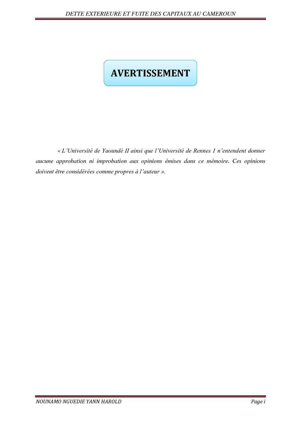 Calaméo Dette Et Fuite Des Capitaux Au Cameroun Nounamo Yann