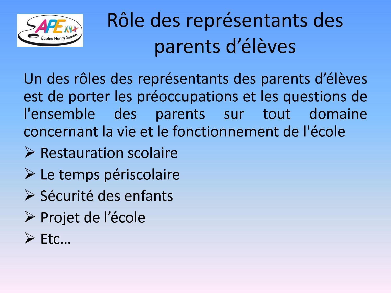 rôle représentant des parents d élèves