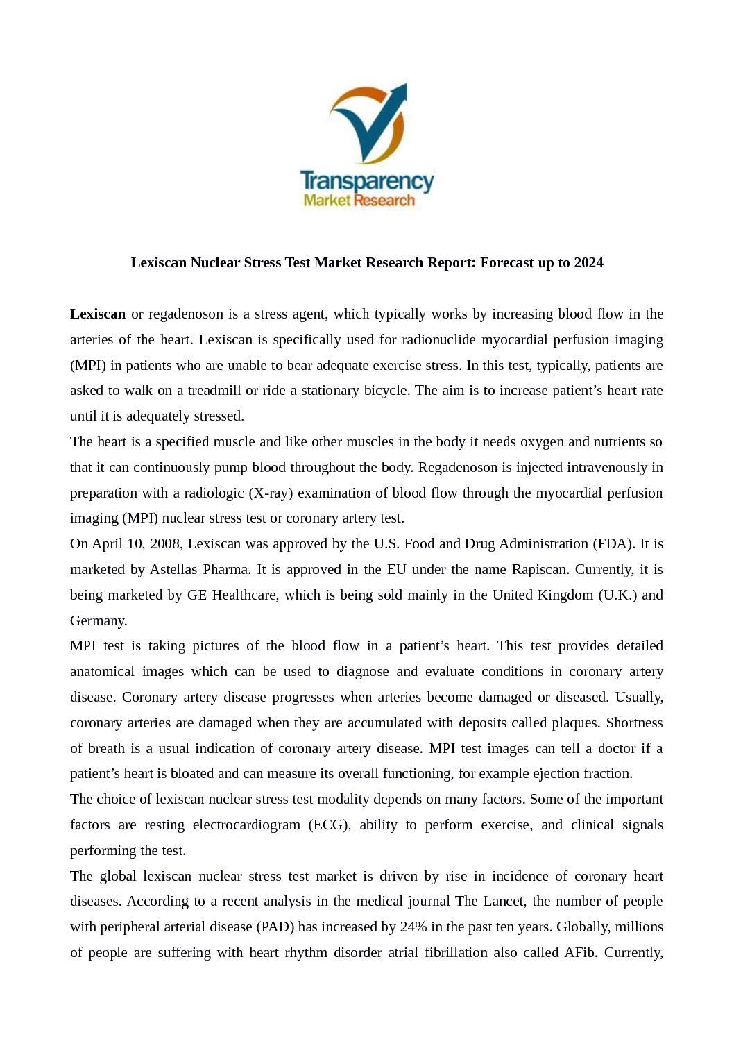 Calameo Lexiscan Nuclear Stress Test Market
