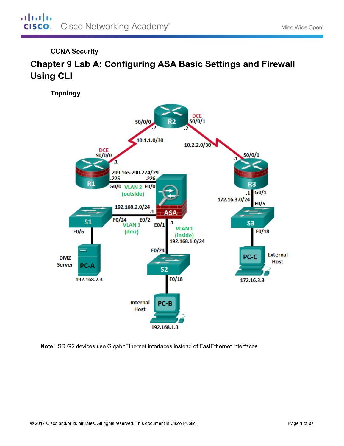 Calaméo - 9 3 1 2 Lab Configure Asa Basic Settings And Firewall
