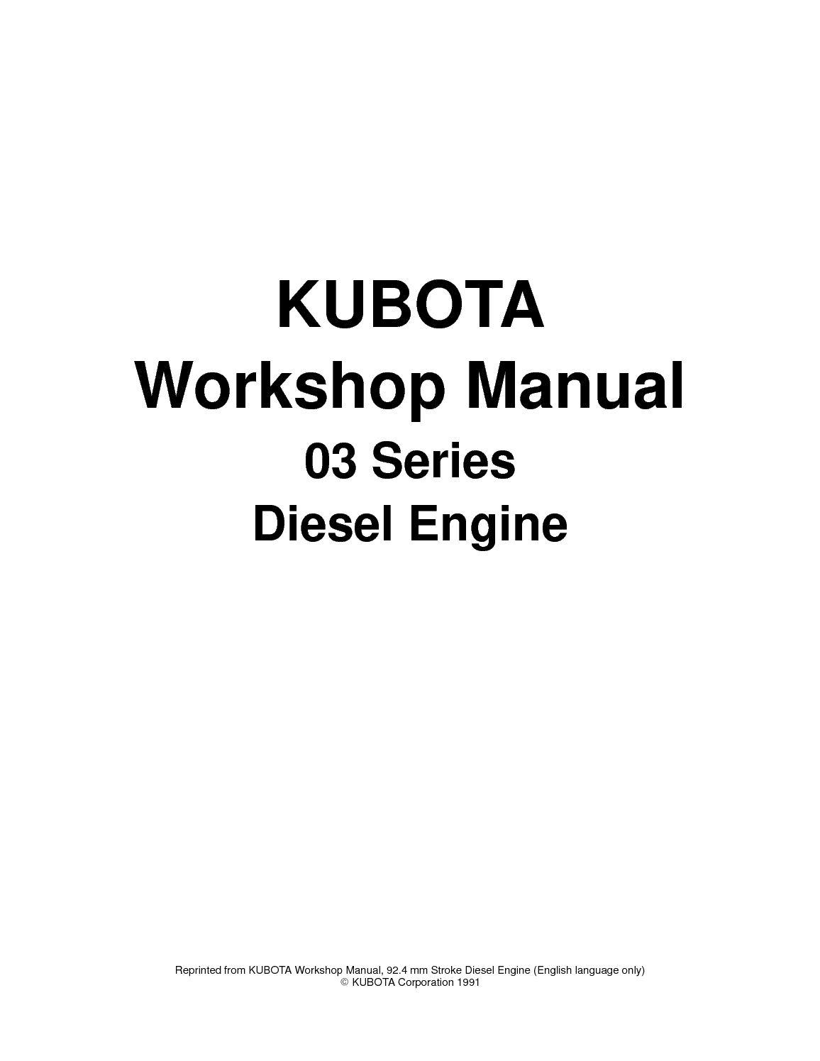 kubota diesel engine shop manual