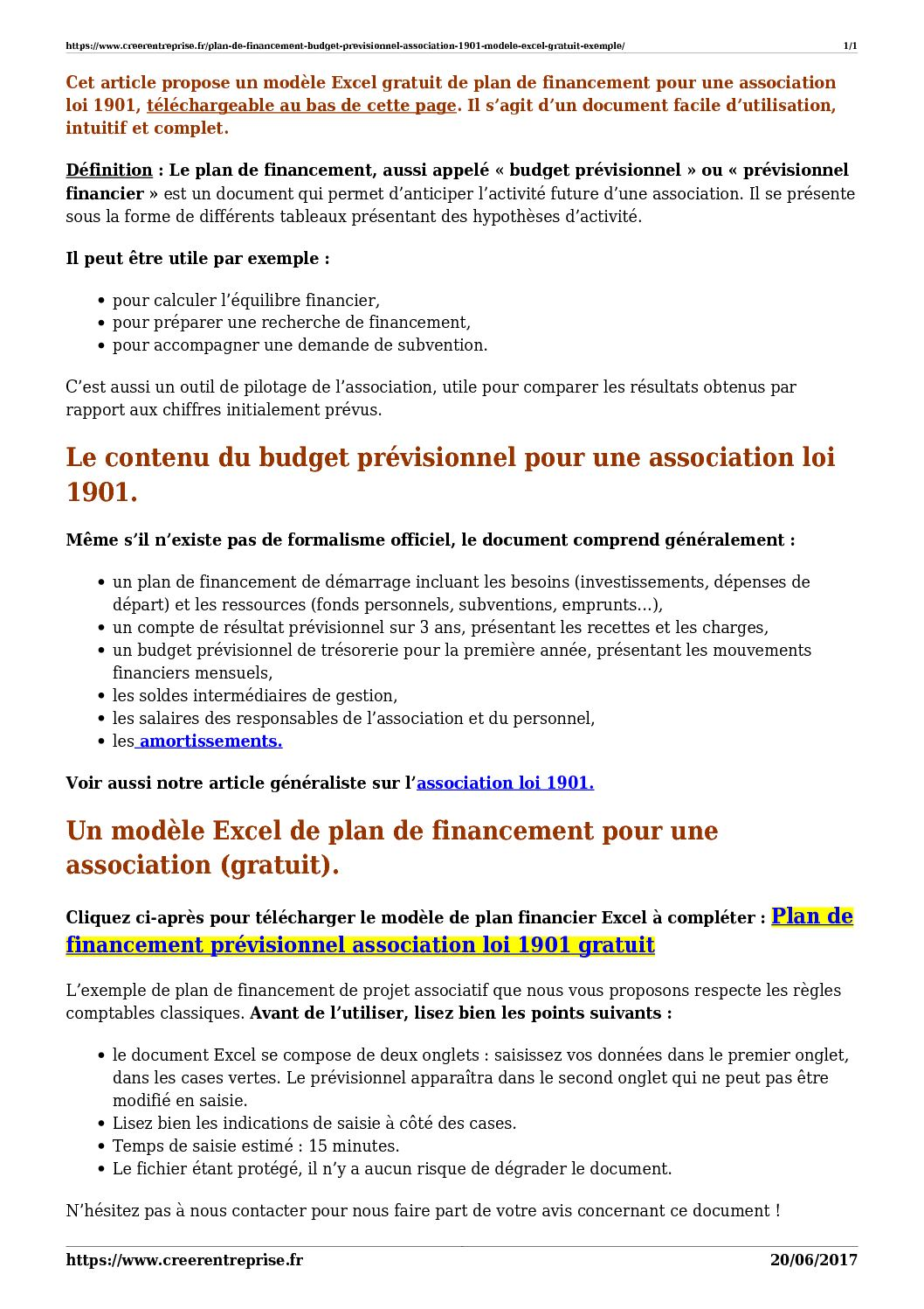 Calameo Plan De Financement Budget Previsionnel Association 1901