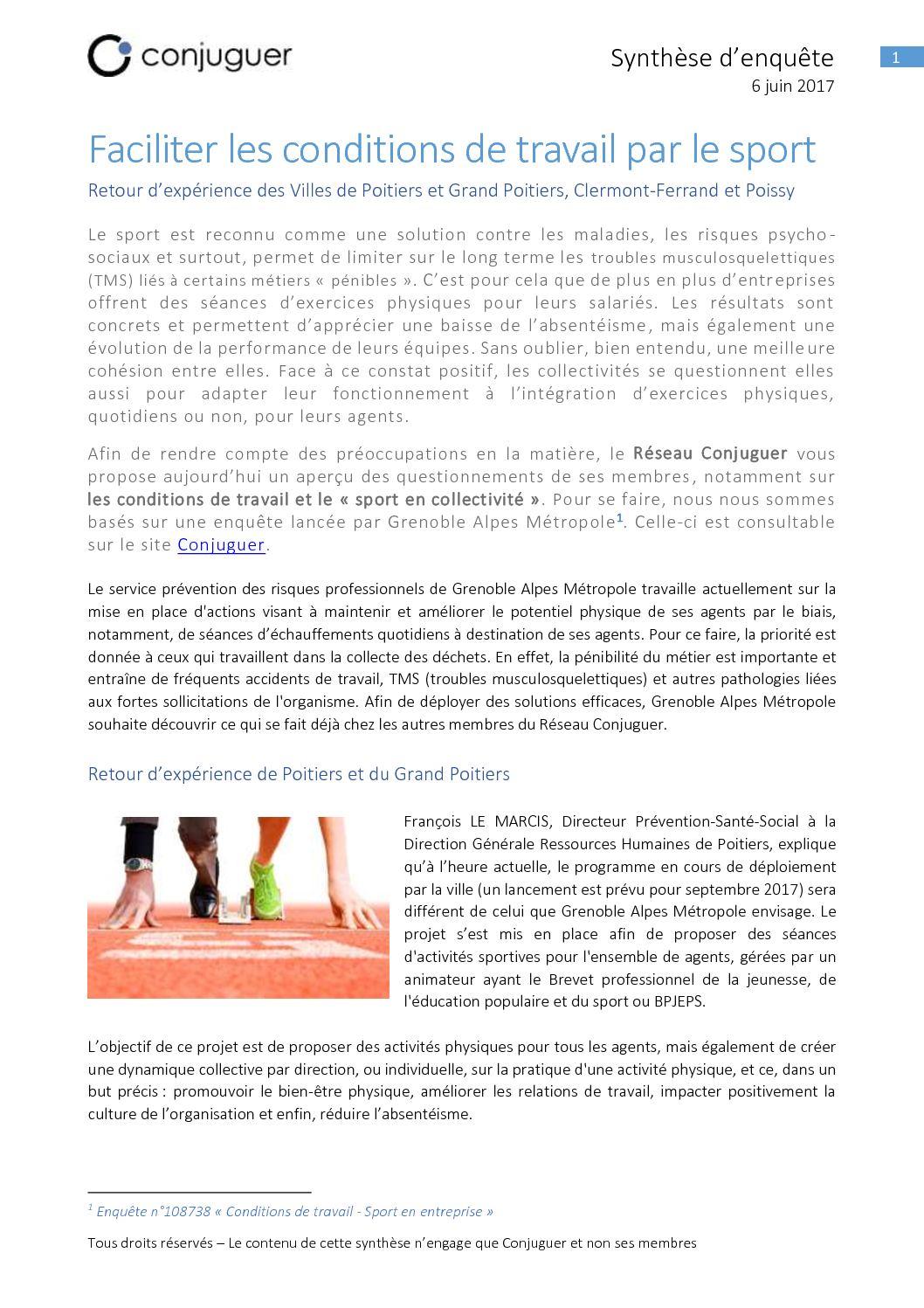 Calameo Conditions De Travail Sport En Collectivite