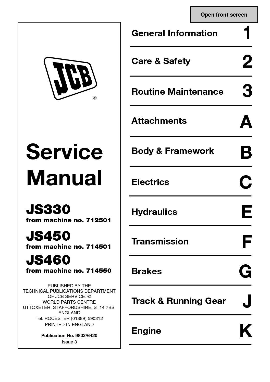 Calaméo - JCB JS450 TRACKED EXCAVATOR Service Repair Manual SN714501 Onwards