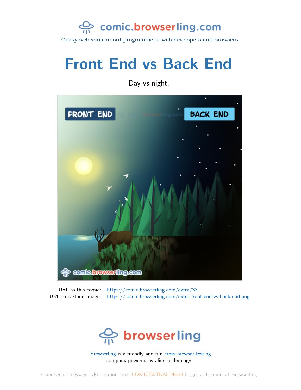 0306b7b6f1 Front End Vs Back End - Programming Joke. by browserling. Day vs night.