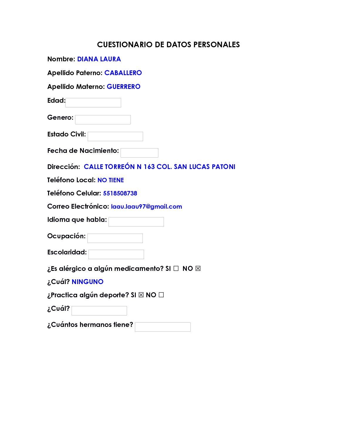 Calaméo Cuestionario De Datos Personales