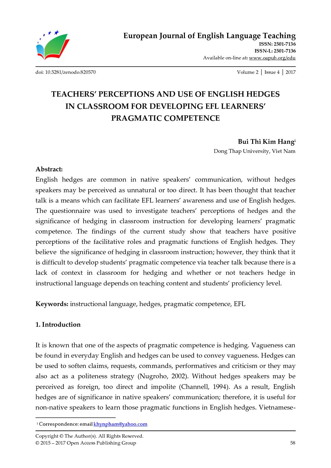 Calaméo - TEACHERS' PERCEPTIONS AND USE OF ENGLISH HEDGES IN