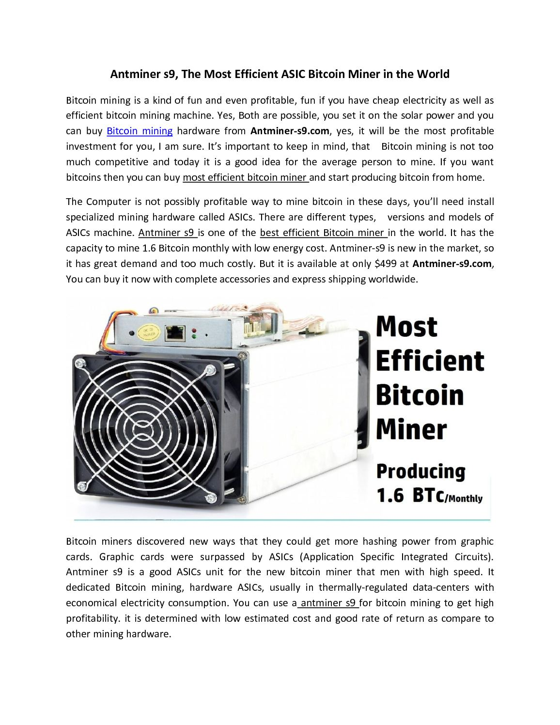 Calaméo - Antminer S9, The Most Efficient Asic Bitcoin Miner