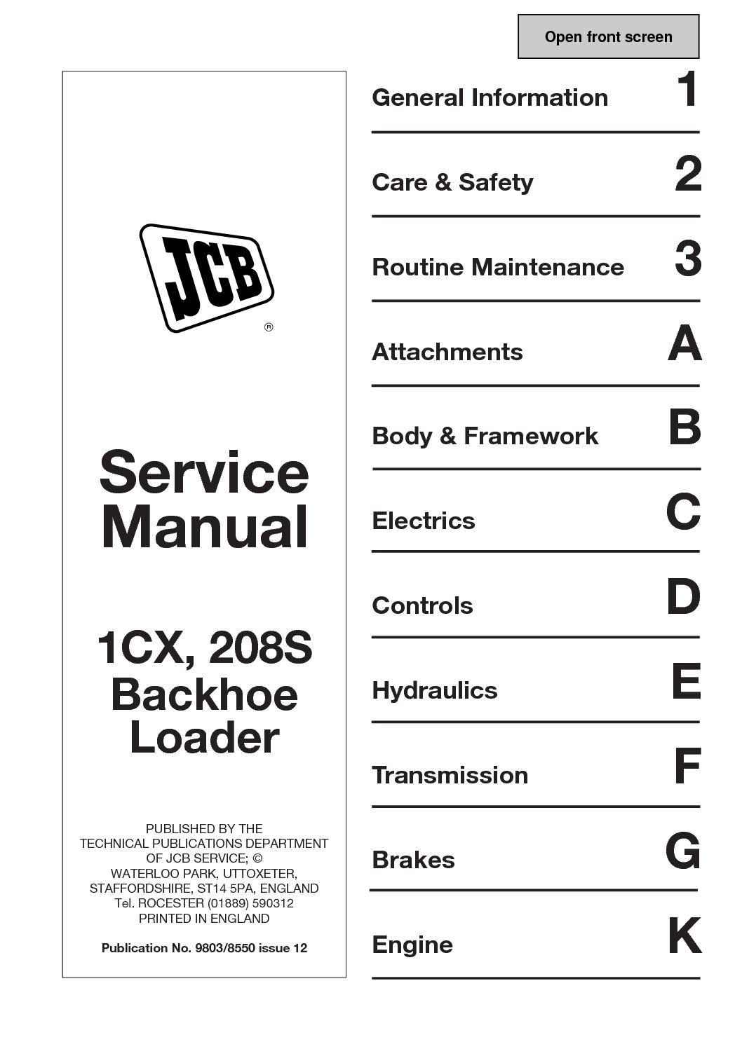 Calaméo - JCB 1CX BACKHOE LOADER Service Repair Manual SN(751600 To 752999).