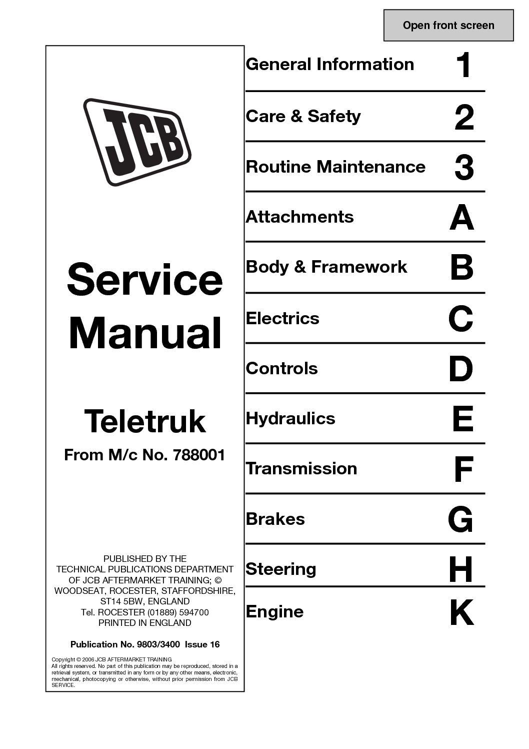 Calaméo - JCB 2 0DG, 2 5DG, 3 0DG, TELETRUK Service Repair Manual SN(78001  Onwards).