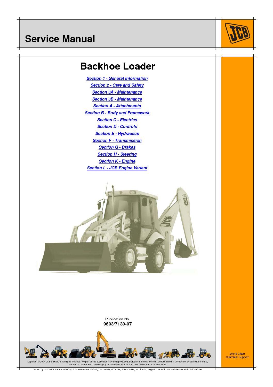 Calaméo - JCB 2CX BACKHOE LOADER Service Repair Manual SN(930000