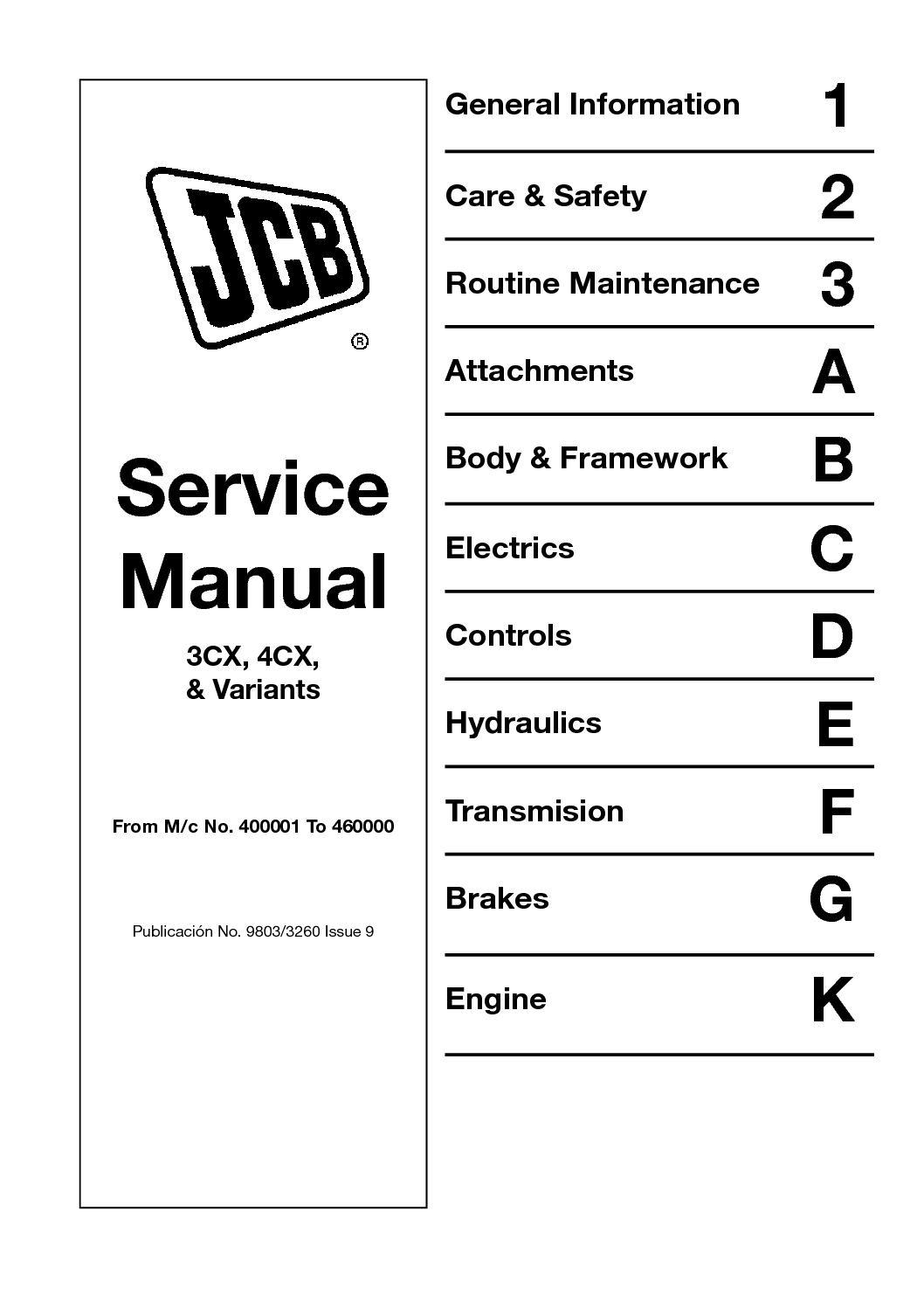 Calaméo - JCB 4CX BACKHOE LOADER Service Repair Manual (SN400001 To  4600000).