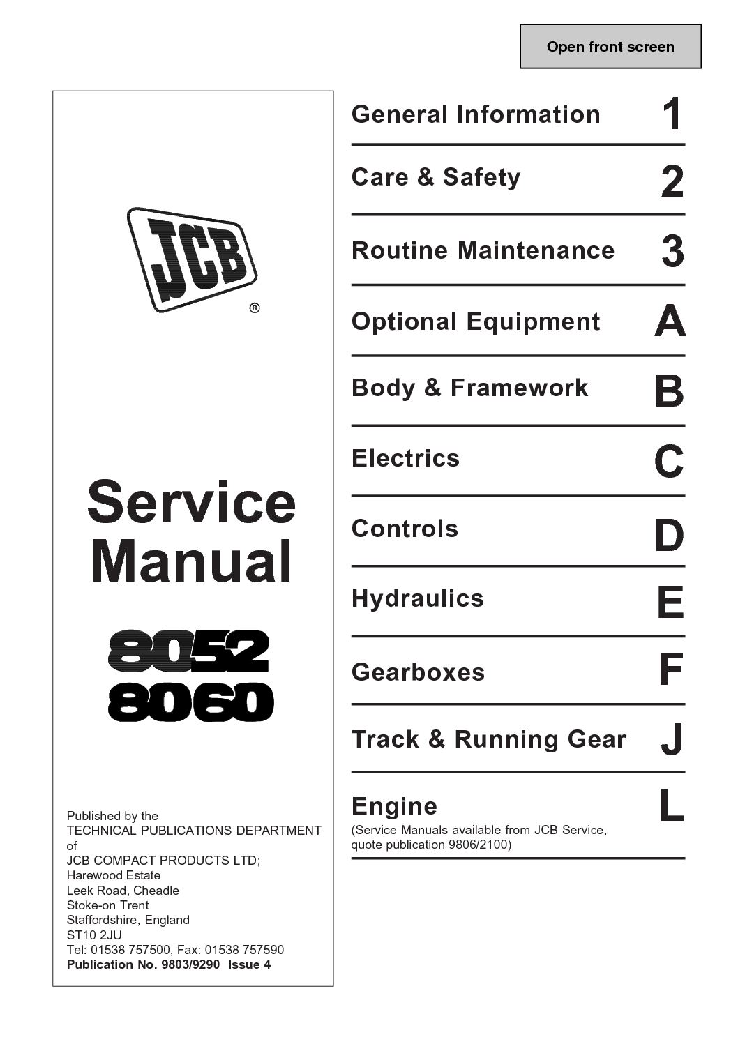 Calaméo - JCB 8060 MIDI EXCAVATOR Service Repair Manual SN1236000 Onwards