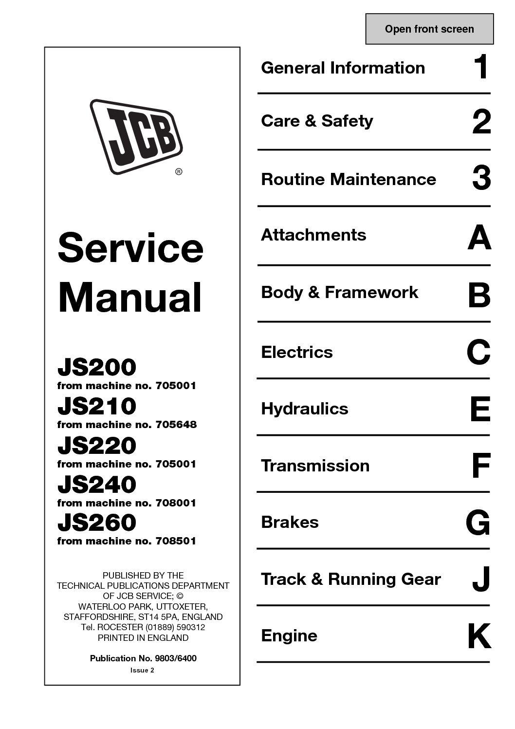 Calaméo - JCB JS220 TRACKED EXCAVATOR Service Repair Manual SN