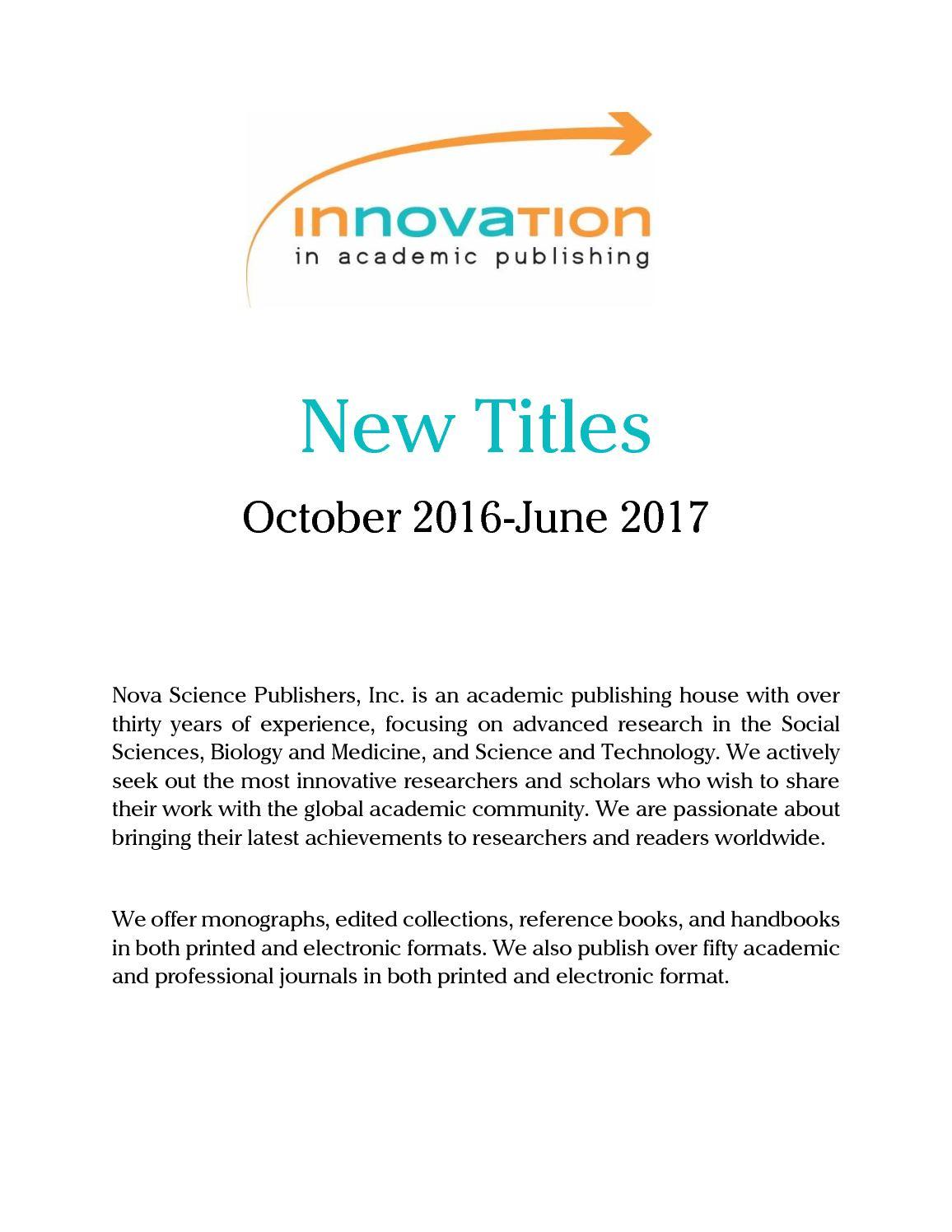 Calameo Catalog 2017 Nova Science Publishers