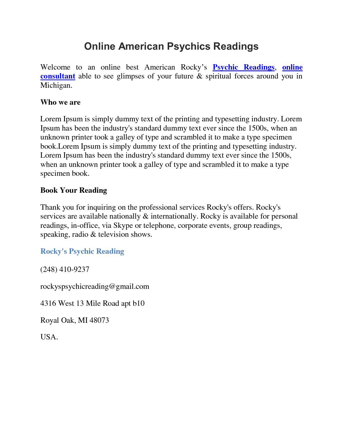 Calaméo - Online American Psychics Readings