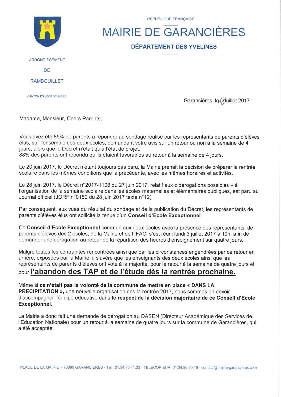 Calaméo Courrier Familles Dérogation Juillet2017