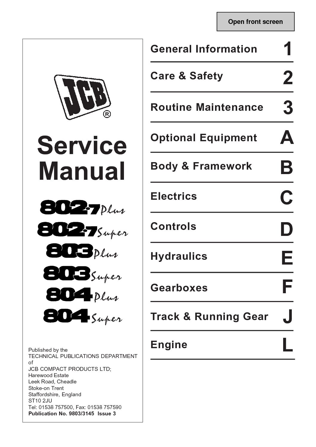 Calaméo - JCB 803super MINI EXCAVATOR Service Repair Manual ... on