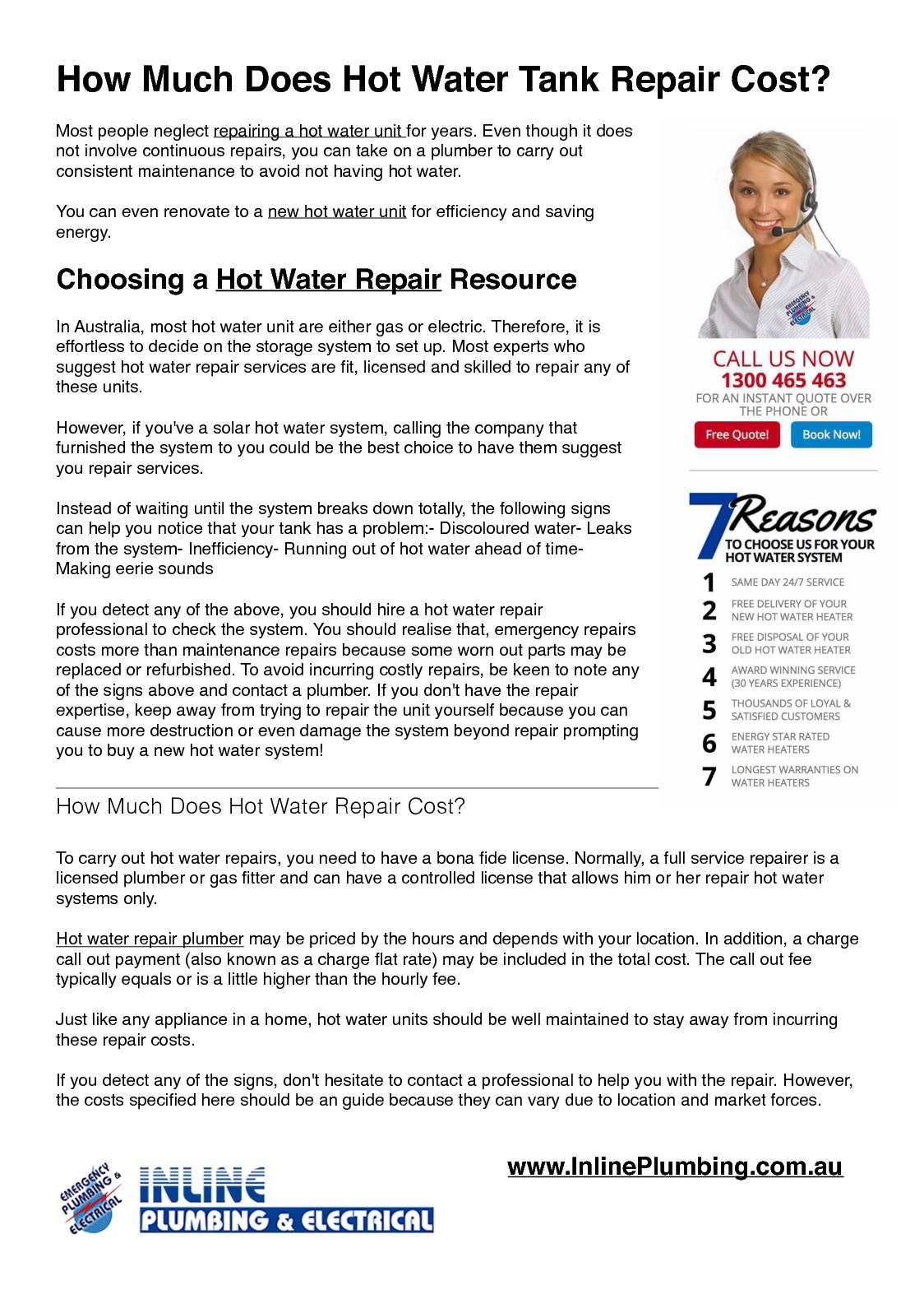 water heater repair cost