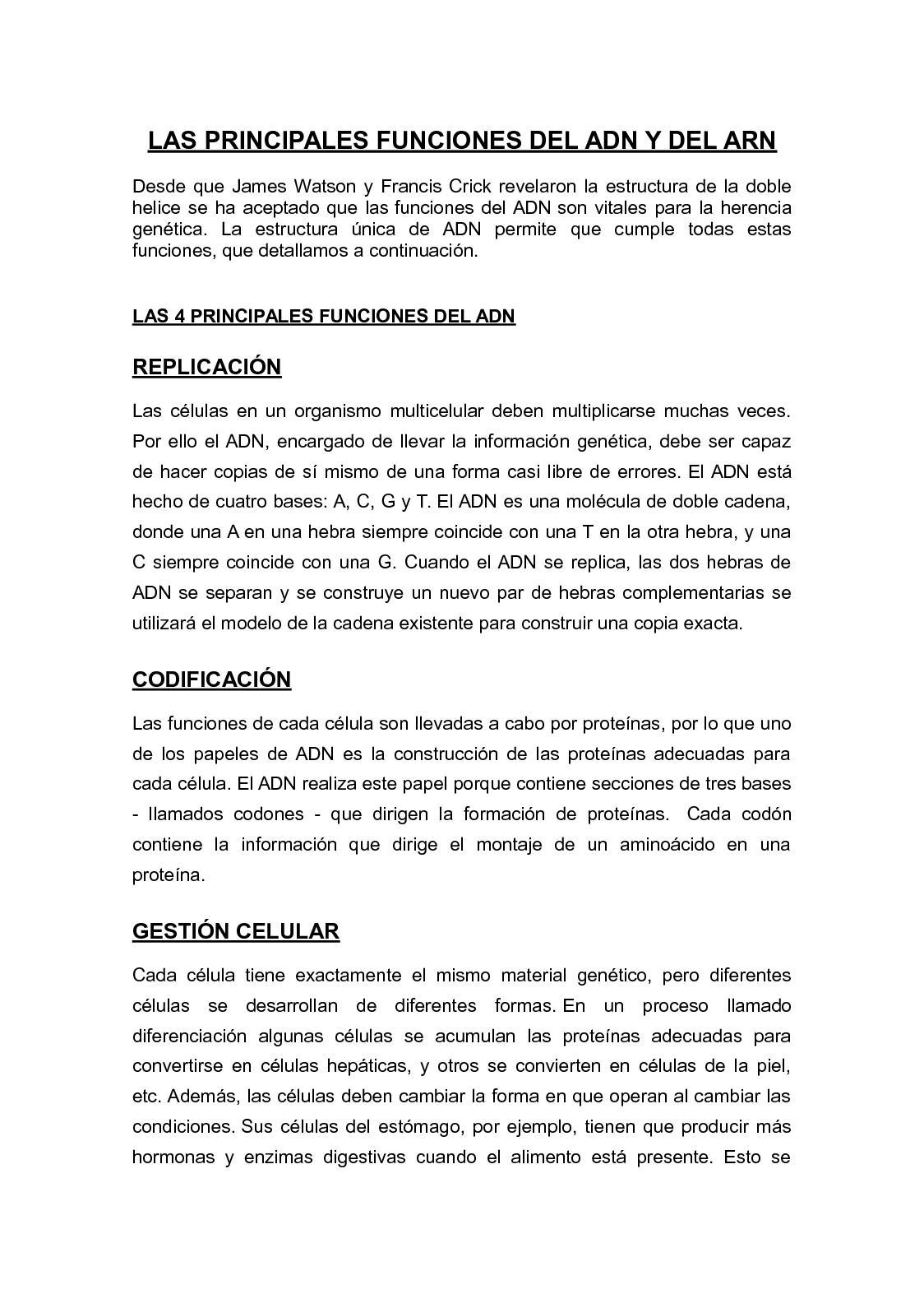 Calaméo Las Principales Funciones Del Adn Y Del Arn
