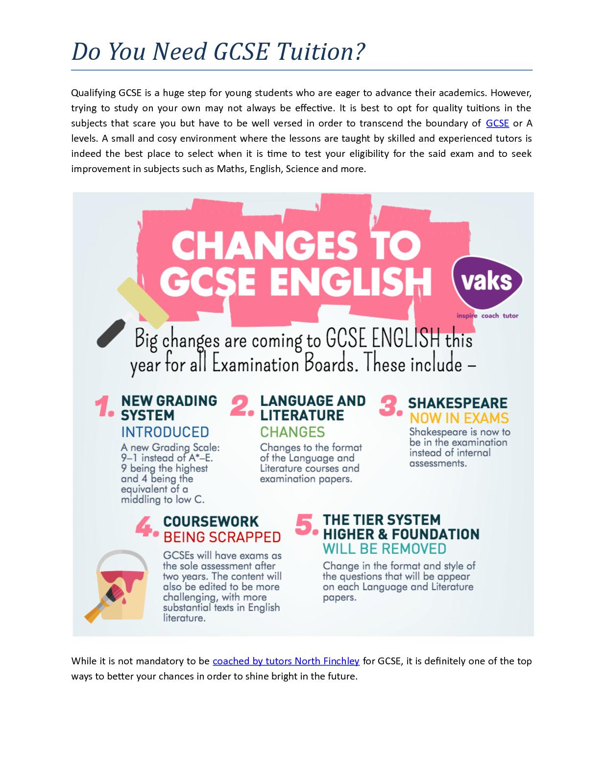 changes in gcse coursework