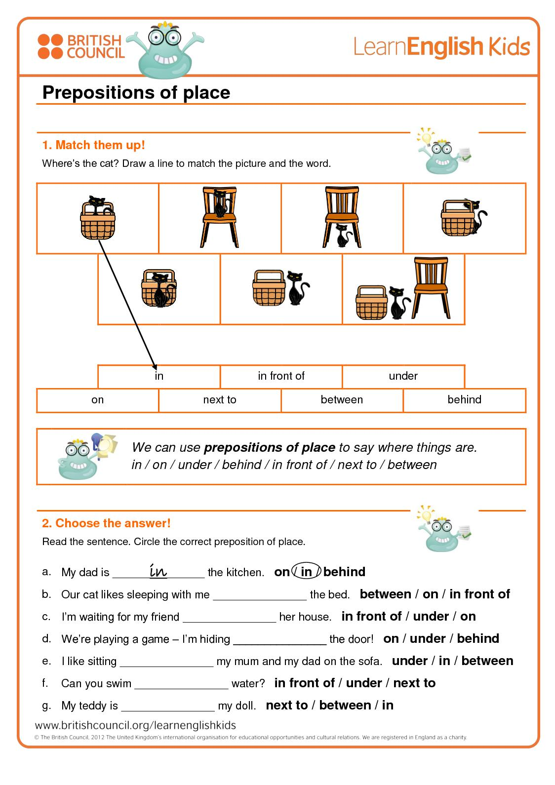 Calaméo - Grammar Games Prepositions Of Place Worksheet