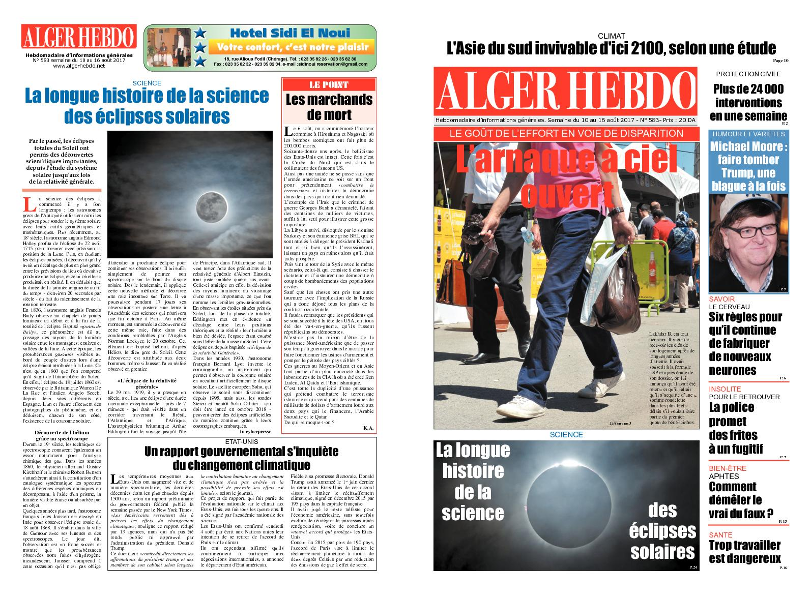 Calaméo - Alger Hebdo N°583 Du 10 Au 16 Août 2017 635c3f65b94b