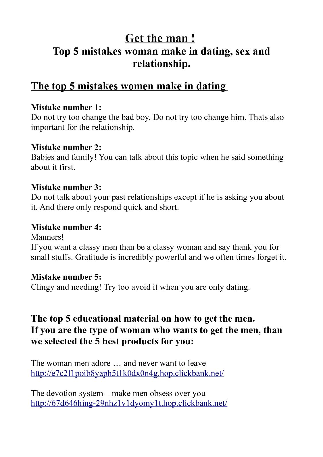 Calaméo - Top 5 mistakes woman make in dating, sex and