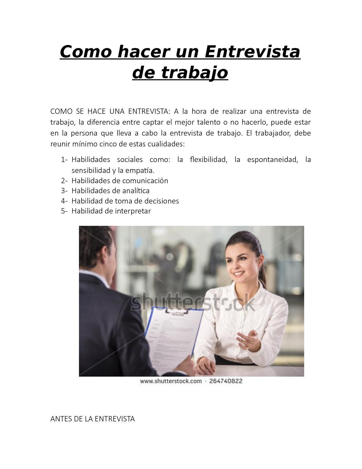 Calaméo Como Hacer Una Entrevista De Trabajo Laura Arevalo
