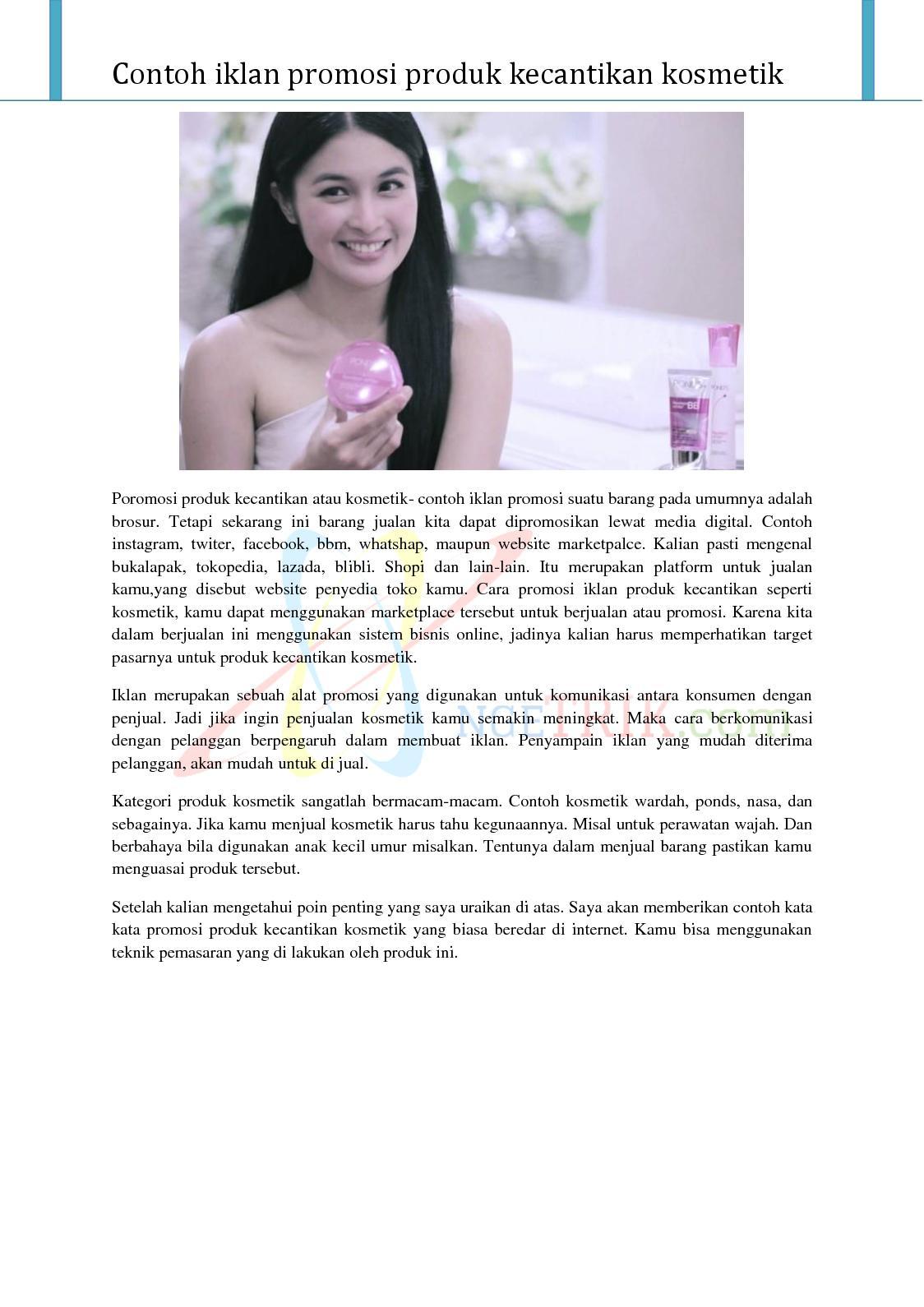 Calameo Contoh Iklan Promosi Produk Kecantikan Kosmetik