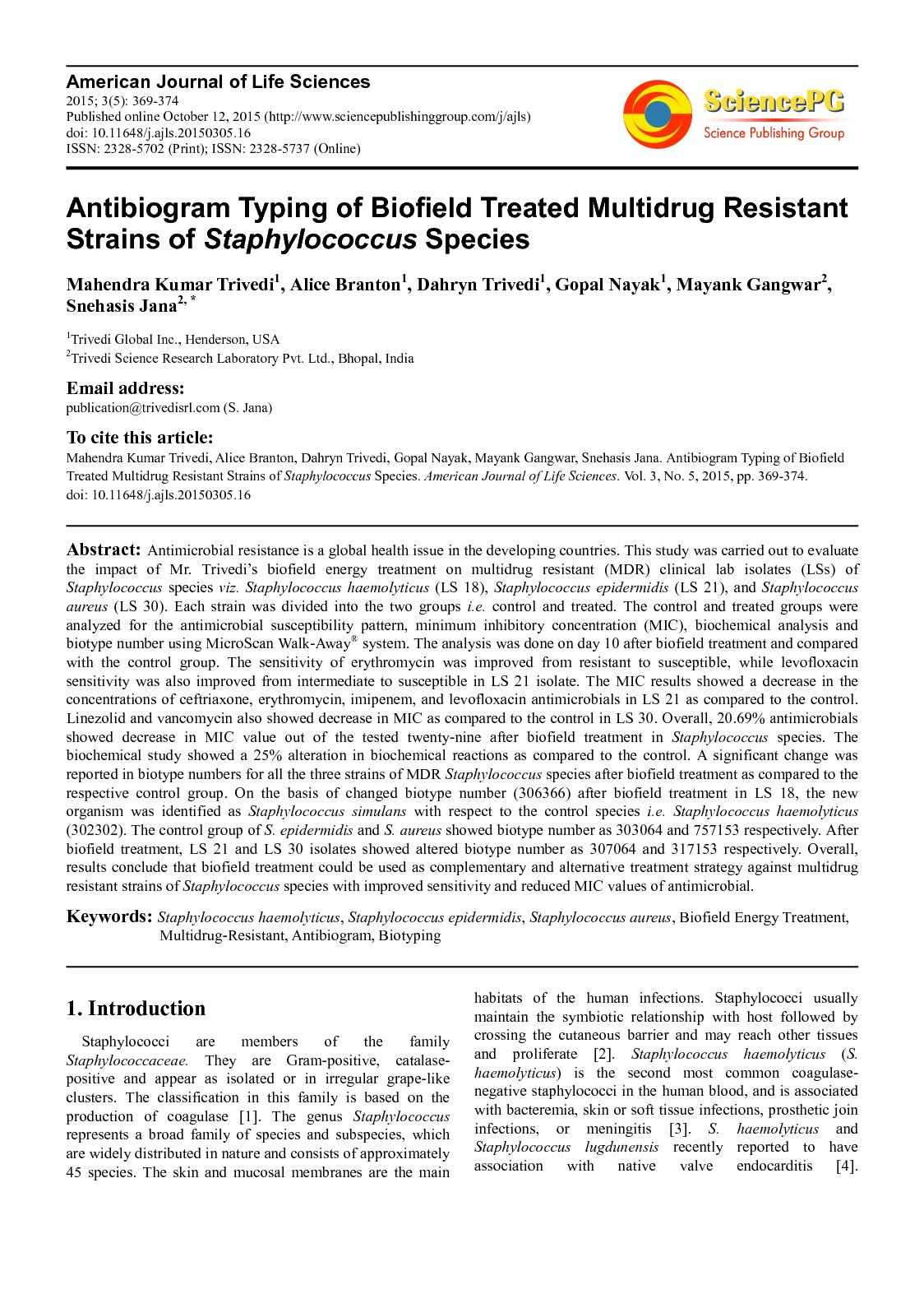 Calaméo - Trivedi Effect - Antibiogram Typing of Biofield Treated